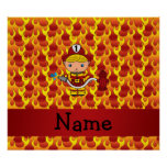 Personalised name fireman flames pattern poster