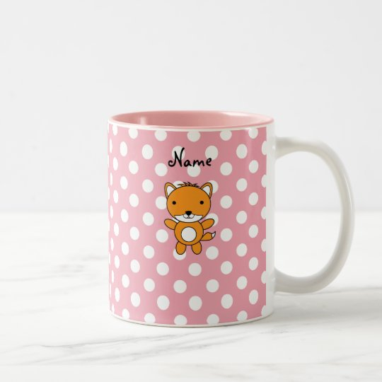 Personalised name fox pink polka dots Two-Tone coffee