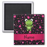Personalised name frog black pink polka dots