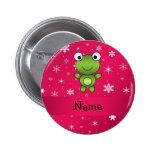 Personalised name frog pink snowflakes badges