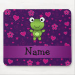 Personalised name frog purple pink flowers hearts mousemats