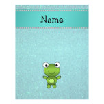 Personalised name frog turquoise glitter 21.5 cm x 28 cm flyer