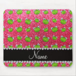 Personalised name fuchsia pink glitter frogs mousemats