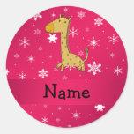 Personalised name giraffe pink snowflakes round sticker