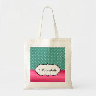 Personalised Name Girly Polka Dots Stripes Pattern Tote Bag