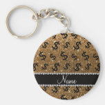 Personalised name gold glitter dollar signs basic round button key ring