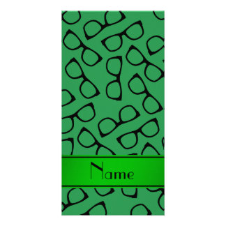 Personalised name green black glasses personalized photo card