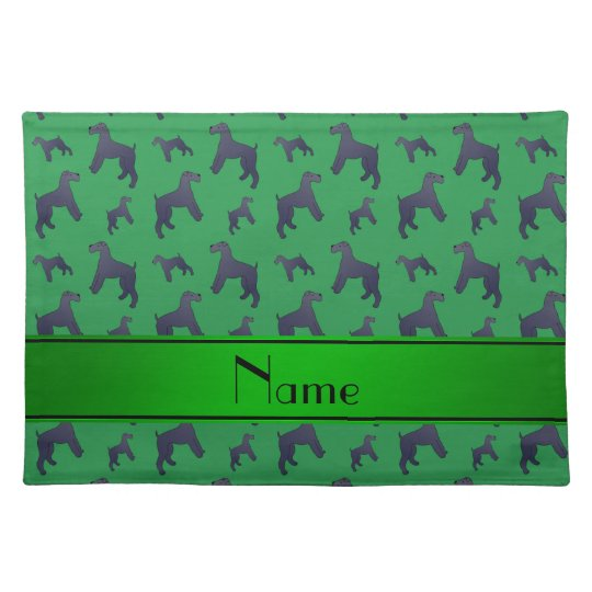 Personalised name green Kerry Blue Terrier dogs Placemats