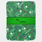 Personalised name green lacrosse pattern baby blanket