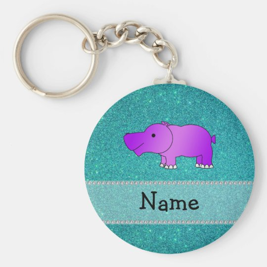 Personalised name hippo turquoise glitter key ring