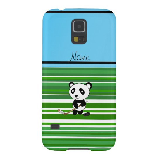 Personalised name hockey panda green stripes galaxy s5 cases