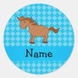 Personalised name horse blue argyle round stickers