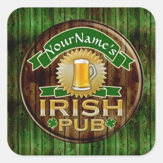 Personalised Name Irish Pub Sign St. Patrick's Day Square Sticker