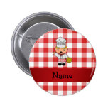 Personalised name italian chef red white checkers pin