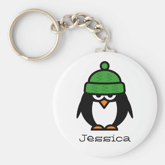 Personalised name keychain for penguin lovers