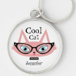 Personalised Name Keychain Pink Retro Cat