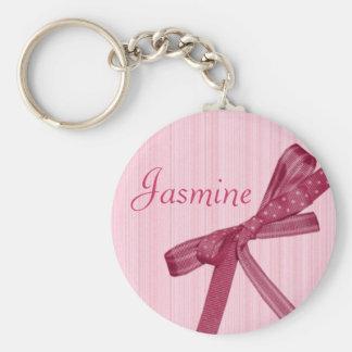 Personalised Name Keyring - Pink Ribbon Basic Round Button Key Ring