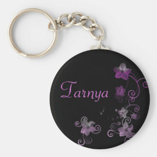 Personalised Name Keyring - Purple Flowers Basic Round Button Key Ring