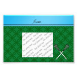 Personalised name lacrosse sticks green circles photo