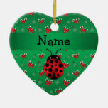 Personalised name ladybug green candy canes bows