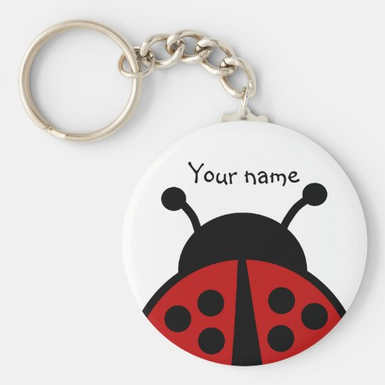 Personalised name ladybug key ring