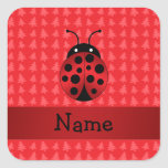 Personalised name ladybug red christmas trees square stickers