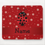 Personalised name ladybug red snowflakes mouse pad