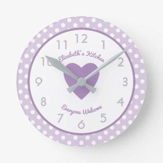 Personalised name Lilac and white Polka Dots Round Clock