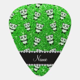 Personalised name lime green glitter pandas plectrum