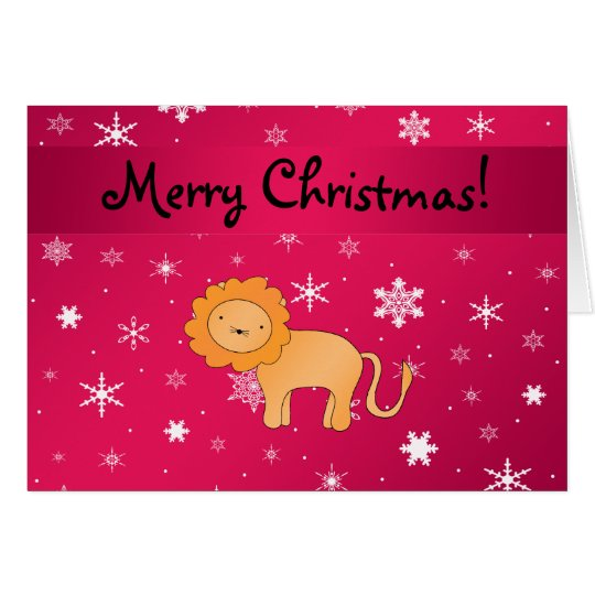 Personalised name lion pink snowflakes card