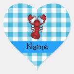 Personalised name lobster blue gingham pattern