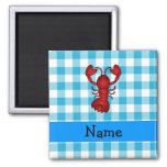 Personalised name lobster blue gingham pattern square magnet