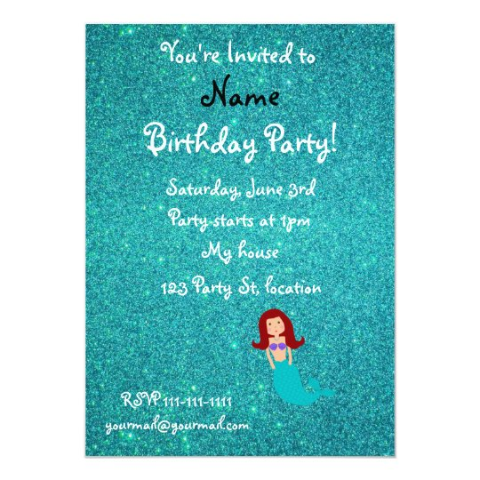 Personalised name mermaid turquoise glitter card