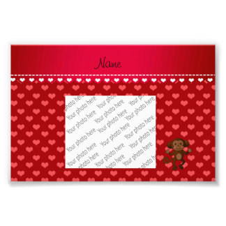Personalised name monkey red hearts photograph