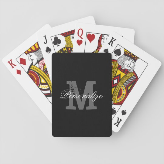 Personalised name monogram playing cards