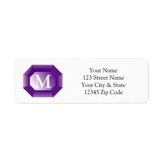 Personalised name monogram purple gem stone return address label