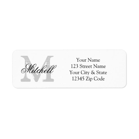 Personalised name monogram return address labels