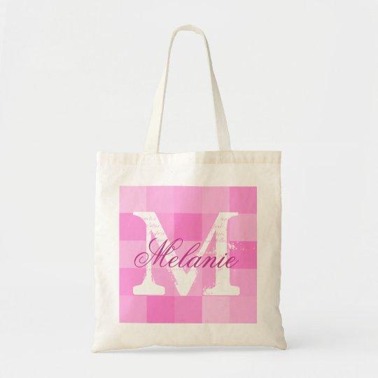 Personalised name monogram tote bag | Pink mosaic