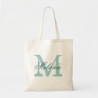 Personalised name monogram tote bag | Turquoise