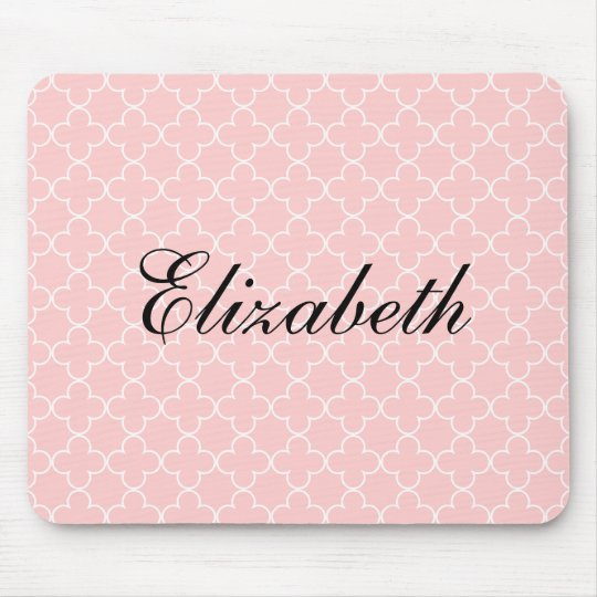 Personalised name mouse pad | Pink quatrefoil