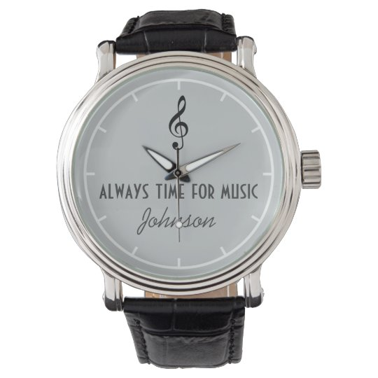 personalised name & musical note watch