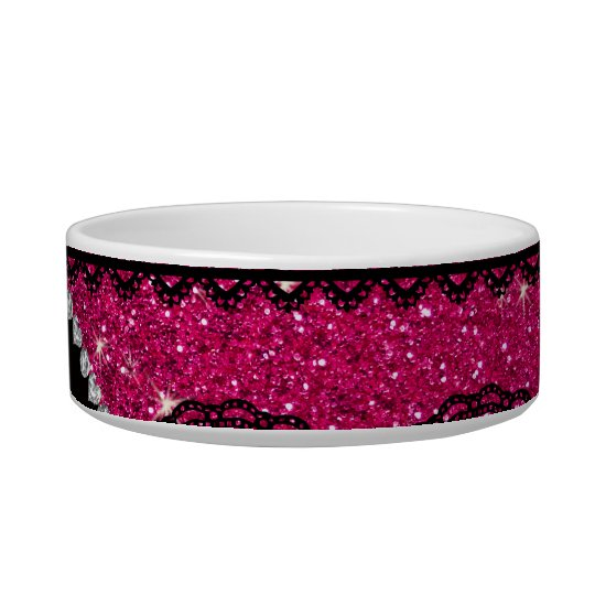Personalised name neon hot pink glitter lace bowl