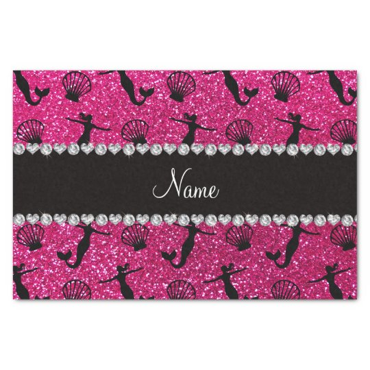 Personalised name neon hot pink glitter mermaids tissue