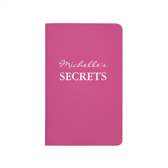 Personalised name neon pink solid colour secret journal