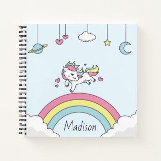 Personalised Name Notebook with Unicorn on Rainbow