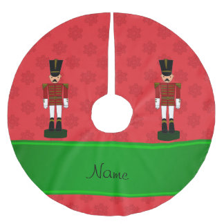 Personalised name nutcracker red snowflakes brushed polyester tree skirt