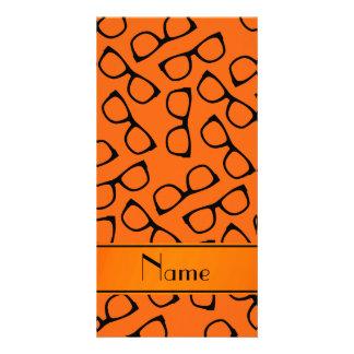 Personalised name orange black glasses personalized photo card