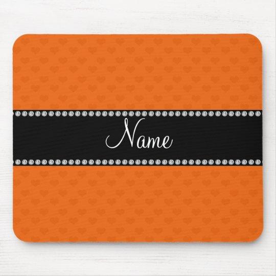 Personalised name orange hearts mouse mat