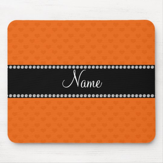 Personalised name orange hearts mouse pad