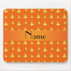 Personalised name orange rubber duck pattern mouse mat